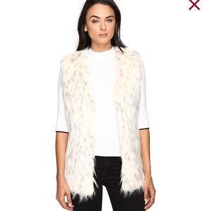 Faux Fur Vest with Tipped Pockets